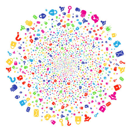 Colorful Secrecy Symbols carnival sphere. Vector round cluster fireworks combined by scattered secrecy symbols elements. Psychedelic Vector illustration.