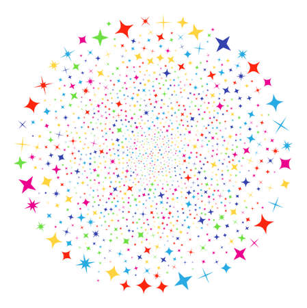 Multi Colored Shine Stars exploding round cluster. Vector round cluster salute created with scatter shine stars elements. Multicolored Vector abstraction.