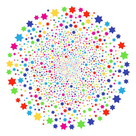 Colorful Six Pointed Star exploding spheric cluster. Vector sphere salute created by random six pointed star objects. Multicolored Vector abstraction.