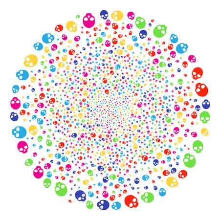 Multicolored Skull festive spheric cluster. Vector globula explosion done from random skull elements. Multicolored Vector illustration. Ilustração