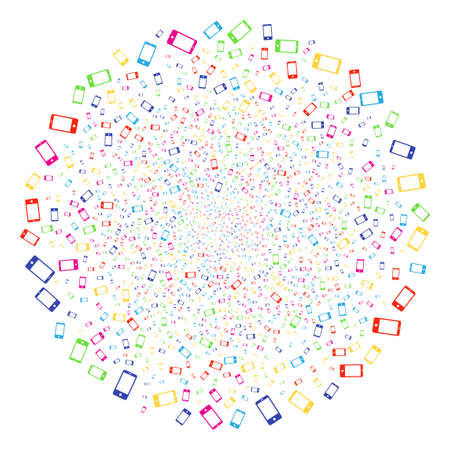Colorful Smartphone carnival round cluster. Vector round cluster explosion combined from randomized smartphone symbols. Multi Colored Vector illustration.