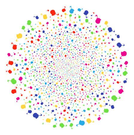 Multicolored Smoking Detective burst sphere. Vector globula fireworks done from randomized smoking detective symbols. Multi Colored Vector illustration.