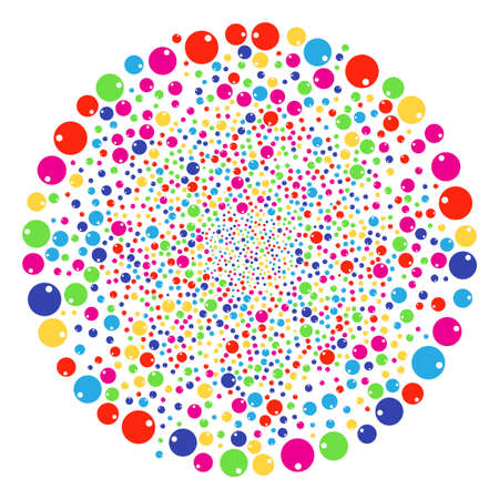 Multi Colored Sphere exploding round cluster. Vector cluster bang combined from scatter sphere objects. Multicolored Vector abstraction.