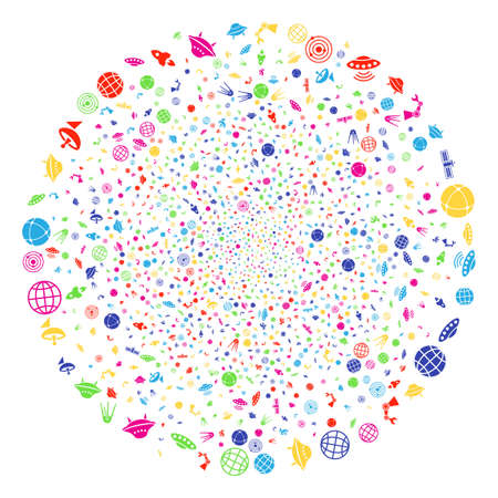 Multicolored Space Technology Symbols fireworks sphere. Vector spheric cluster bang organized with scatter space technology symbols elements. Colorful Vector abstraction.