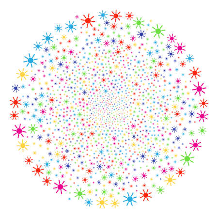 Psychedelic Sun salute cluster. Vector spheric cluster bang designed with scatter sun symbols. Bright Vector abstraction.