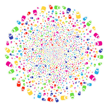 Multicolored Vial festival spheric cluster. Vector round cluster explosion combined by scattered vial objects. Colorful Vector abstraction.