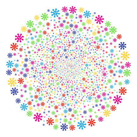 Colorful Virus exploding cluster. Vector round cluster salute done from random virus symbols. Bright Vector abstraction. Illustration