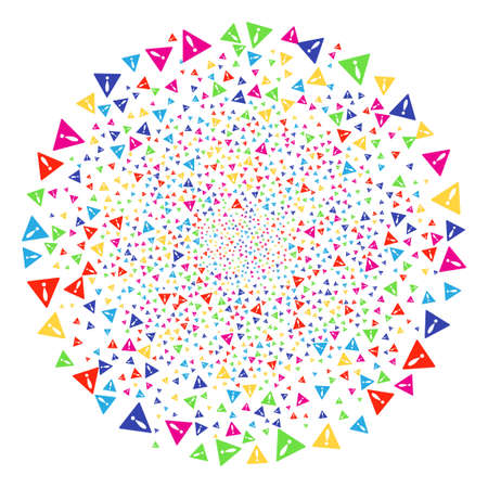 Bright Warning exploding spheric cluster. Vector round cluster bang designed with random warning items. Multi Colored Vector abstraction. Illustration