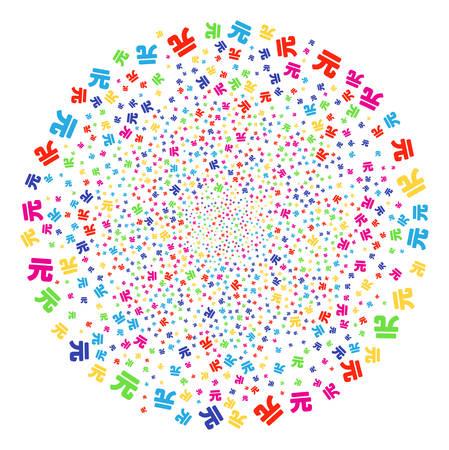 Multicolored Yuan Renminbi festive cluster. Vector globula fireworks created from scatter Yuan Renminbi symbols. Psychedelic Vector illustration.