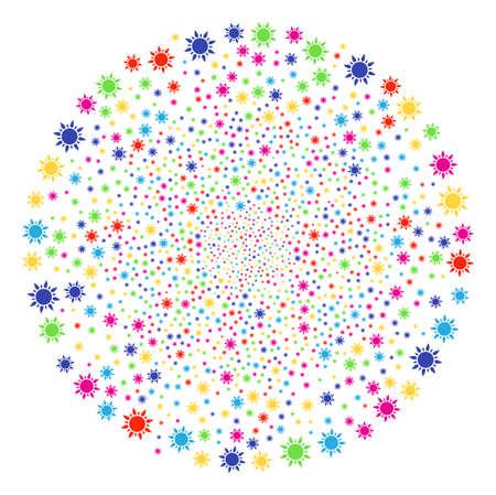 Multi Colored Sun festival round cluster. Vector sphere fireworks organized from randomized sun symbols. Psychedelic Vector illustration.