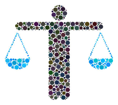 Weight Comparing Person mosaic of filled circles in different sizes. Vector round dots are organized into weight comparing person illustration.