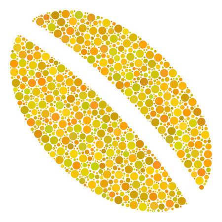 Wheat Seed mosaic of circle elements in various sizes. Vector filled circles are composed into wheat seed composition. Illustration