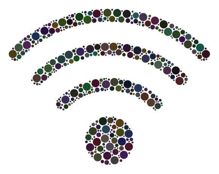 Wi-Fi Source collage of filled circles in various sizes. Vector dots are combined into wi-fi source illustration. Illustration
