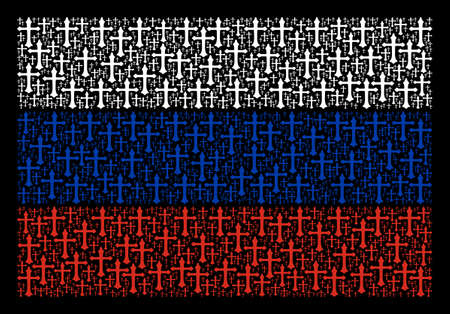 Russian State Flag concept made of christian cross pictograms. Vector christian cross objects are composed into conceptual Russian flag collage. Illustration