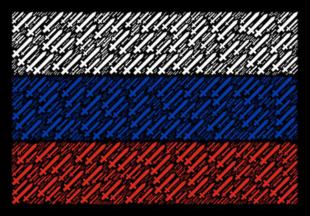 Russian National Flag collage done of sword design elements. Raster sword items are united into geometric Russian flag pattern.