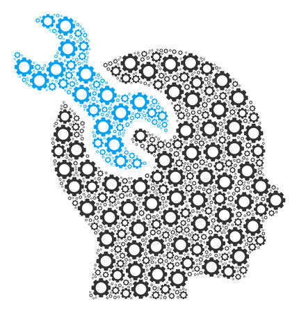 Brain Service Wrench composition of gear elements. Vector cog parts are united into brain service wrench figure. Ilustração