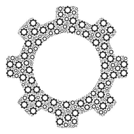 Gear mosaic of gear wheels. Vector mechanical wheel components are grouped into gear shape. Фото со стока - 97966594