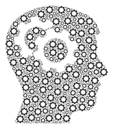 Intellect Gears mosaic of gear elements. Vector gearwheel components are grouped into intellect gears pattern.