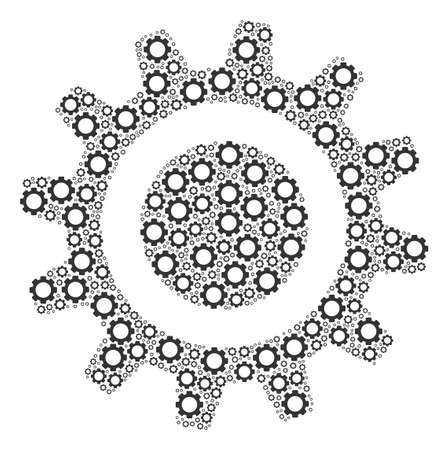 Cog mosaic of cog wheels. Vector gear elements are combined into cog pattern.