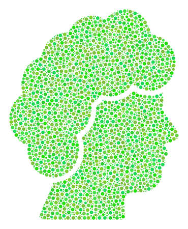 Woman Profile collage of small circles in variable sizes and green color tints. Small circles are organized into woman profile vector mosaic. Organic vector design concept.