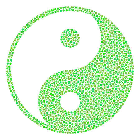 Yin Yang collage of small circles in different sizes and ecological green color tones. Circle dots are united into yin yang vector mosaic. Organic vector illustration.