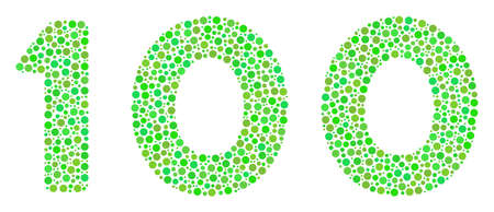 100 Text collage of round dots in variable sizes and eco green color tints. Circle elements are united into 100 text vector collage. Ecology vector illustration. Illustration