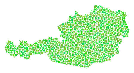 Austria Map collage of circle dots in variable sizes and eco green shades. Dots are united into austria map vector mosaic. Ecology vector illustration.