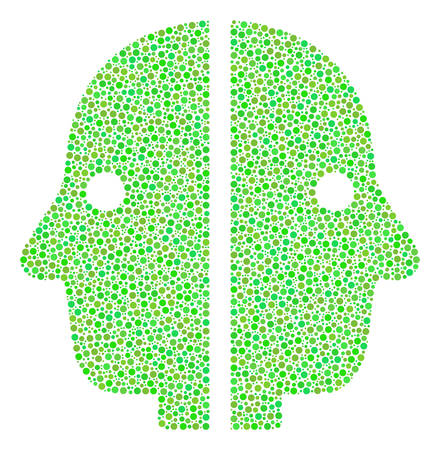 Dual Face composition of dots in different sizes and fresh green color tints. Dots are grouped into dual face vector mosaic. Fresh vector illustration.