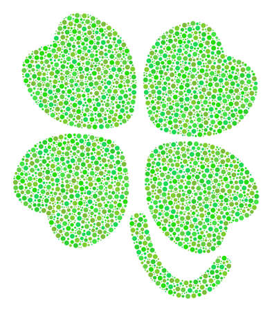 Four-Leafed Clover composition of small circles in variable sizes and green color tinges. Dots are united into four-leafed clover vector collage. Ecological vector design concept.