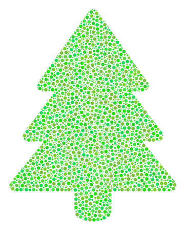 Fir-Tree collage of circle dots in different sizes and ecological green color tones. Small circles are organized into fir-tree vector mosaic. Ecology vector illustration. Illustration