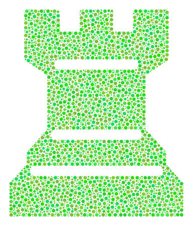 Chess Tower composition of dots in different sizes and ecological green color tones. Circle dots are united into chess tower vector collage. Eco vector illustration.