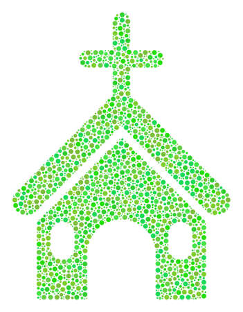 Christian Church composition of circle dots in various sizes and ecological green color tones. Circle elements are united into christian church vector composition. Ecological vector design concept.