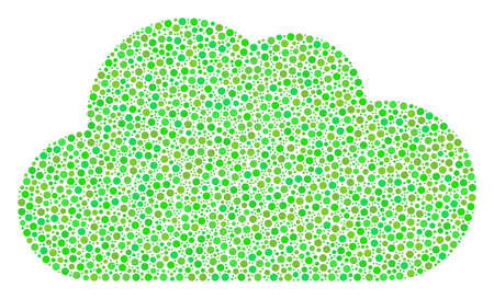 Cloud mosaic of dots in different sizes and green color hues. Round dots are combined into cloud vector composition. Freshness vector illustration.