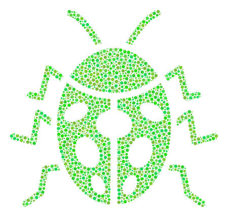 Ladybird Bug composition of round dots in variable sizes and ecological green color tints. Dots are combined into ladybird bug vector collage. Organic vector design concept. Ilustração