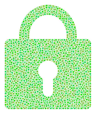 Lock composition of circle dots in variable sizes and ecological green shades. Dots are combined into lock vector mosaic. Organic vector design concept. Illustration
