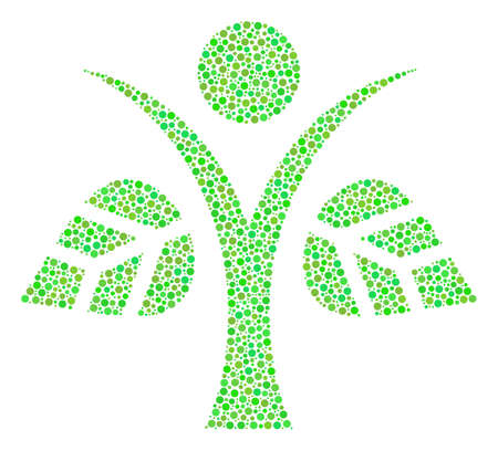 Eco Man mosaic of circle dots in variable sizes and green color tints. Small circles are organized into eco man vector mosaic. Ecology vector illustration.