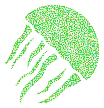 Jellyfish collage of circle dots in various sizes and eco green color tinges. Circle elements are combined into jellyfish vector collage. Freshness vector illustration.  イラスト・ベクター素材