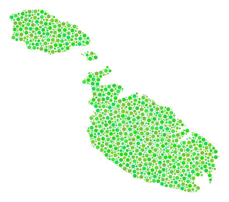 Malta Island Map collage of circle dots in various sizes and green color tones. Circle elements are combined into malta island map vector composition. Freshness vector illustration.