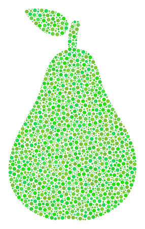 Pear composition of circle dots in different sizes and green color tints. Circle elements are grouped into pear vector illustration. Organic vector design concept.