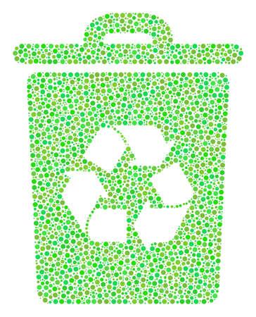 Collage de la corbeille de points de cercle de différentes tailles et teintes de couleur verte. Les points circulaires sont unis dans la composition vectorielle de la corbeille. Illustration vectorielle de fraîcheur.