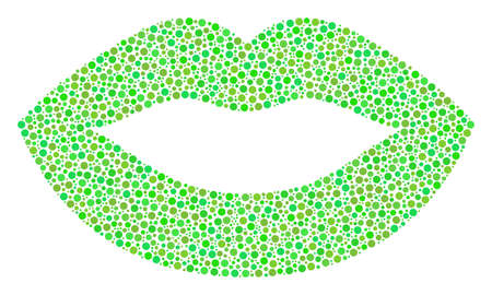 Sexy Lips mosaic of small circles in different sizes and ecological green color tints. Dots are united into sexy lips vector composition. Ecology vector illustration.