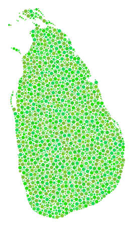 Sri Lanka Island Map mosaic of round dots in different sizes and fresh green color tints. Dots are grouped into sri lanka island map vector collage. Organic vector illustration. Illustration