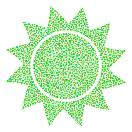 Sun mosaic of circle dots in different sizes and ecological green color tints. Round dots are grouped into sun vector illustration. Ecological vector illustration. Illustration