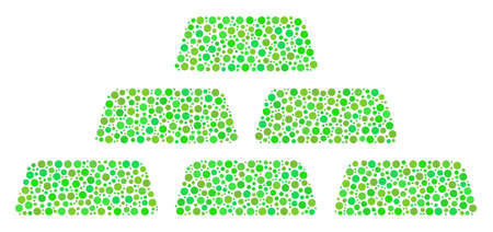 Treasure Bricks composition of round dots in different sizes and ecological green color tones. Round dots are composed into treasure bricks vector mosaic. Ecology vector illustration.
