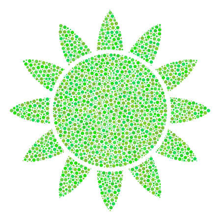 Sun mosaic of circle dots in variable sizes and green color tones. Circle dots are organized into sun raster mosaic. Ecological raster design concept.