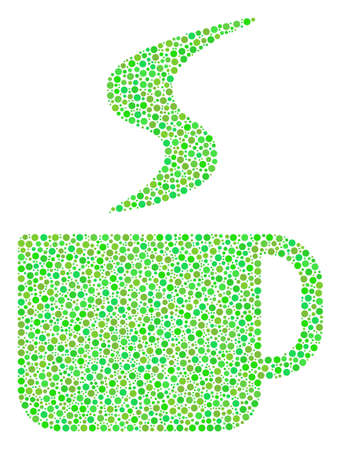 Hot Coffee Cup collage of round dots in variable sizes and eco green color tones. Circle elements are organized into hot coffee cup vector collage. Eco vector illustration.