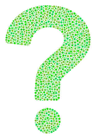 Question collage of circle dots in different sizes and ecological green color hues. Round dots are united into question vector illustration. Organic vector design concept.