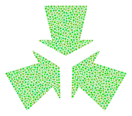 Shrink Arrows collage of circle dots in variable sizes and eco green shades. Circle elements are grouped into shrink arrows vector illustration. Freshness vector design concept. Ilustração