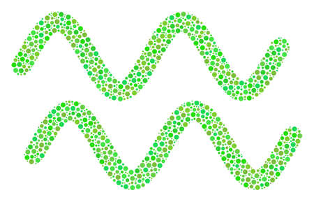 Sinusoid Waves collage of dots in variable sizes and fresh green color tints. Circle elements are united into sinusoid waves vector illustration. Fresh vector design concept. Illustration
