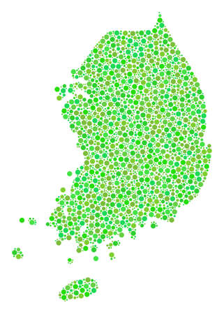 South Korea Map composition of small circles in different sizes and green color hues. Dots are combined into south korea map vector mosaic. Ecological vector illustration.